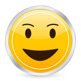 Laughing face yellow circle ic Stock Image