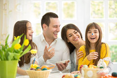 Laughing family on Easter Stock Image