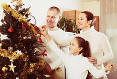 Laughing family preparing for Christmas Royalty Free Stock Images