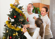 Laughing family preparing for Christmas Stock Photos
