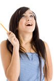 Laughing female with pencil Stock Photos