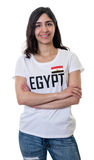 Laughing female sports fan from Egypt Stock Images
