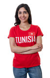 Laughing female sports fan from Tunisia Stock Image