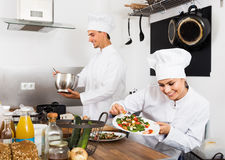 Laughing female young cook holding plate. Laughing female young cook wearing uniform holding plate with green salad Stock Photography