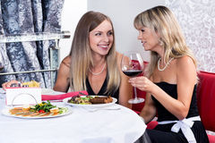 Laughing friends having dinner Stock Images