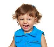 Laughing fun girl in blue dress. Stock Image
