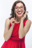 Laughing Funny Caucasian Brunette Woman With Artistic Spectacles. Natural Portrait of Happy Laughing Funny Caucasian Brunette Woman With Artistic Spectacles In Stock Images