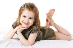 Laughing girl. Laughing redhaired girl on white background royalty free stock image