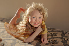 Laughing girl. Happy laughing little 3-years-old girl Stock Photography