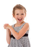 Laughing girl. Happy laughing six years girl isolated Stock Images