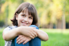Laughing girl in the autumn park Stock Photography