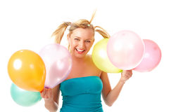Laughing Girl with balloons Royalty Free Stock Images