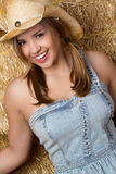 Laughing Girl in Barn Stock Image