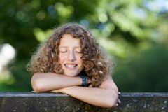 Laughing girl with braces Stock Photos