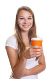Laughing girl with a cup of coffee Stock Photos