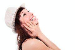 Laughing girl in disco hat Royalty Free Stock Images