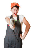 Laughing girl with drill Stock Photography