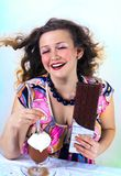 Laughing girl enjoying coffee Stock Images