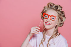 Laughing girl with glasses Royalty Free Stock Photos