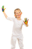 Laughing girl with hands painted Royalty Free Stock Image