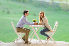 Laughing Girl and Her Boyfriend Stock Images