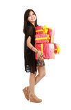 Laughing girl holding the red box present Royalty Free Stock Image