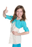 Laughing girl holds her thumb up Royalty Free Stock Images