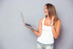 Laughing girl making video call Stock Photography