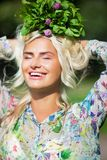 Laughing girl with mint in park Royalty Free Stock Photos