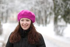Laughing girl portrait in winter landscape Stock Photo
