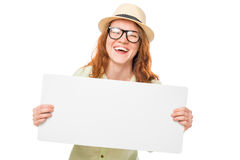 Laughing girl with a poster for an inscription Stock Image