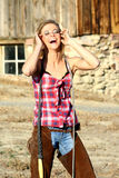 Laughing Girl on the Ranch Stock Photography