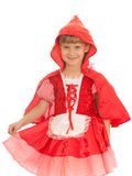 Laughing girl in red dress Stock Photos