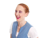 Laughing girl with red hair isolated on white Stock Photography