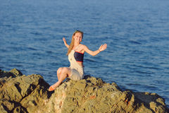 Laughing Girl by Sea Royalty Free Stock Image