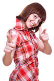Laughing girl in a shirt giving thumbs-up Royalty Free Stock Photo