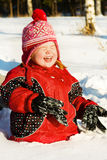 Laughing girl in snow Stock Photo