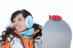 Laughing girl snowboarder Royalty Free Stock Image