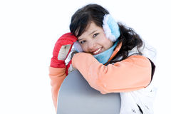 Laughing girl snowboarder Stock Images