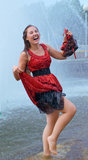 Laughing girl in wet clothes Royalty Free Stock Photo