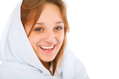 Laughing girl in white scarf Stock Photos