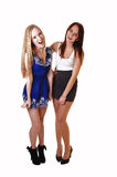 Laughing girls. Two very pretty women standing in the studio having fun and laughing Royalty Free Stock Images