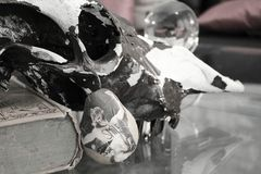 Laughing Glass Decor. Laughing Pair Glass Table Furniture Skull book Royalty Free Stock Photo