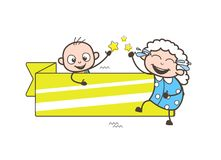 Laughing Granny with Baby and Banner Vector Illustration Royalty Free Stock Image