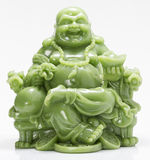 Laughing Green Fat Buddha Feng Shui. In White background Stock Photos