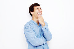Laughing guy over white Stock Photography