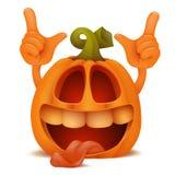 Laughing Halloween Pumpkin Jack Lantern emoticon cartoon character Stock Photos