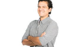 Laughing Handsome Latino Man Arms Folded Isolated Royalty Free Stock Images