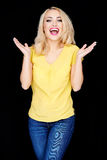 Laughing happy blond woman Stock Photography