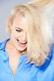 Laughing happy blond woman Royalty Free Stock Image